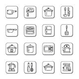 Utensílios da cozinha e ícones da garatuja dos dispositivos Fotografia de Stock Royalty Free