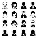 Utente, avatar, uomo, donna, insieme di Icon dell'uomo d'affari Immagine Stock