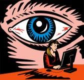Utente di sorveglianza del calcolatore dell'occhio illustrazione vettoriale
