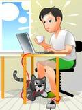 Utente e gatto pazzesco Fotografie Stock Libere da Diritti