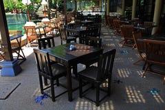 Uteplats av det utomhus- kafét Royaltyfri Fotografi