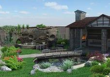 Uteplatsframför trädgårds-bakgrund, 3D Fotografering för Bildbyråer