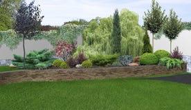 Uteplatsträdgårds-bakgrund, tolkning 3d Arkivbild