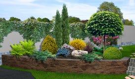 Uteplatsträdgårds-bakgrund, tolkning 3d Arkivfoto