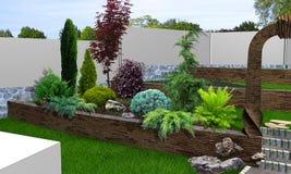 Uteplatsträdgårds-bakgrund, tolkning 3d Royaltyfri Foto