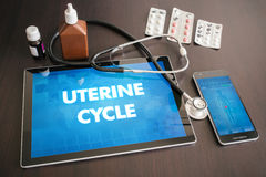 Uterine cycle (menstrual cycle related) medical concept on table. T screen with stethoscope royalty free stock images