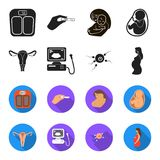 Uterus, apparatus of ultrasound, fertilization. Pregnancy set collection icons in black,flet style vector symbol stock. Illustration Stock Photos
