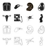Uterus, apparatus of ultrasound, fertilization. Pregnancy set collection icons in black,outline style vector symbol. Stock illustration Stock Photography