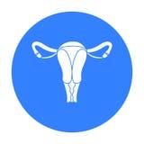 Uterus icon in black style isolated on white background. Pregnancy symbol stock vector illustration. Stock Photo