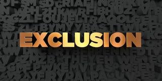 Uteslutande - guld- text på svart bakgrund - 3D framförd fri materielbild för royalty vektor illustrationer
