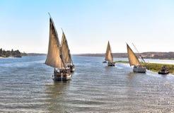 Utfärd på den breda flodNilenfeluccaen i Egypten Royaltyfri Fotografi
