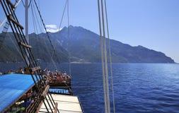 Utfärd på en yacht på Mount Athos Arkivfoto