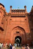 Utfärda utegångsförbud för av den röda forten, New Delhi Arkivfoton