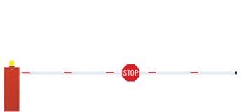 Utfärda utegångsförbud för vägbarriärCloseup, körbanaportstång, stopptecken som stängs Arkivfoton
