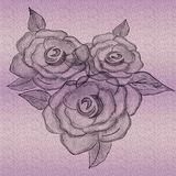 Utföra i relief Rose Artwork Utdragen design för hand för mycket idérika konstverk royaltyfri illustrationer