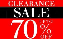 Utförsäljning upp till 70 procent befordranetikett Arkivbild