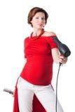 Utforma hår för ung gravid kvinna över white Arkivfoto