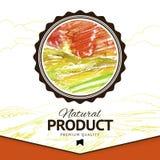 Utformad vektorvattenfärg dra naturproduktetiketten Royaltyfri Bild