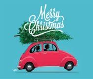 Utformade den Themed illustrationen för glad jul av tecknade filmen för sidosikten den röda bilen för tappning med julgranen ocks vektor illustrationer