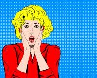 Utformar den chockade framsidan för vektorkvinnan med den öppna munnen i komiker för popkonst Royaltyfri Bild