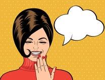 Utformar den gulliga retro kvinnan för popkonst i komiker att skratta vektor illustrationer