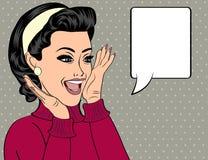 Utformar den gulliga retro kvinnan för popkonst i komiker att skratta royaltyfri illustrationer