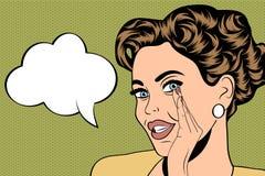 Utformar den gulliga retro kvinnan för popkonst i komiker med meddelandet stock illustrationer