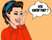 Utformar den gulliga retro kvinnan för popkonst i komiker med meddelandet vektor illustrationer