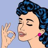 Utformar den gulliga retro kvinnan för popkonst i komiker Arkivfoto