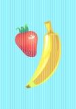 Utformar den vertikala vektorillustrationen för bananen och för jordgubben i popkonst Royaltyfri Foto
