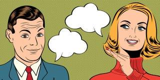Utformar gulliga retro par för popkonst i komiker med meddelandet vektor illustrationer