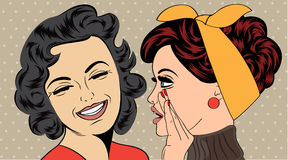 Utformar retro kvinnor för popkonst i komiker det skvaller vektor illustrationer