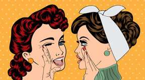 Utformar retro kvinnor för popkonst i komiker det skvaller royaltyfri illustrationer