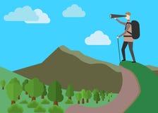 utforskarebegrepp Fotvandrare i berg Ren bl? himmel med baloons EPS stock illustrationer