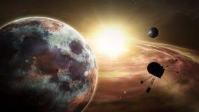Utforskning för exoplanet för utrymmesond stock illustrationer