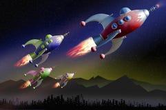 utforskningpatrullavstånd stock illustrationer