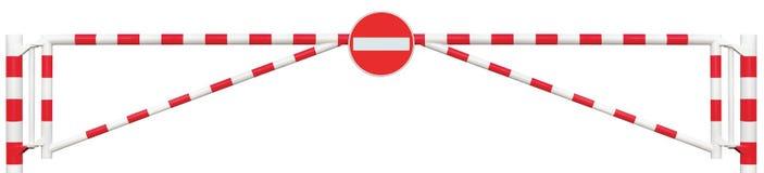 Utfärda utegångsförbud för isolerade vägbarriärCloseup, ingen vit för stång för port för tillträdesteckenkörbana ljus och röd pun Arkivbilder