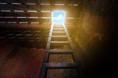 Utgången av ett mörkt rum, den wood stegen från källaren ser upp till himlen royaltyfria bilder