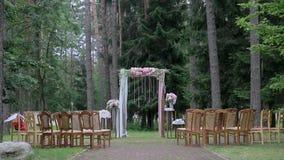 Utgångsbröllopregistrering på bakgrunden av skogen arkivfilmer