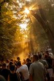 Utgångsfestivalen 2015 i soluppgång - dansa arenan Royaltyfri Fotografi