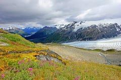 Utgångsglaciär, Harding isfält, Kenai fjordar nationalpark, Alaska arkivfoto