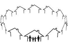 utgångspunkten för gemenskapfamiljfinden houses grann stock illustrationer