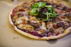 utgångspunkten gjorde pizza Arkivbild