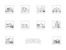 utgångspunkter Bostads- husfyrkantlinje symboler vektor illustrationer
