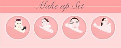 Utgör eller ställ in sminket med kvinnor härligt på rosa bakgrund royaltyfri foto