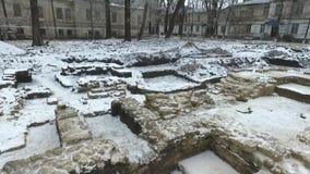Utgrävning av en gammal ortodox tempel stock video
