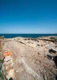 Utgrävningen av forntida gravvalv på Blacket Sea i Bulgarien Royaltyfria Foton