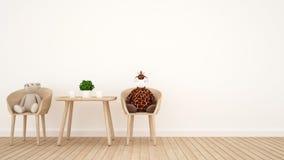 Uthärda dockan och giraffdockan på matsal eller lura rum - 3D Rende Arkivfoton