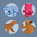 Uthärda illustrationen för teckenet för den djura för vektorn däggdjurs- tecknade filmen för nallen gråsprängda roliga lyckliga d Arkivbilder