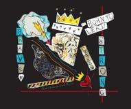 Uthärdat för att leda slogan med tigern, kronan och fjärilen Collage för vektorpopkonst för t-skjorta och utskrivaven design royaltyfri illustrationer